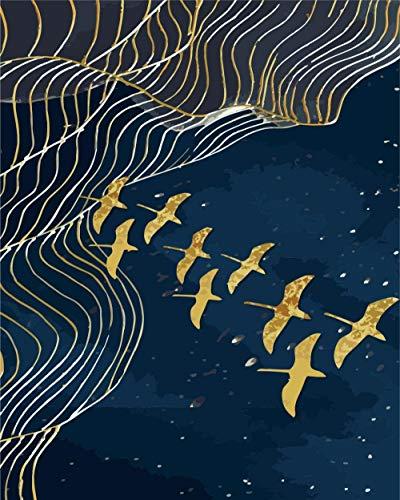 BUFUXINGMA Pintura por Números para Adultos Niños Principiantes Pintar por Numeros Kit con Pinceles y Pinturas DIY Decoraciones para El Hogar, Pájaro Dorado En La Noche 40 X 50 Cm Sin Marco