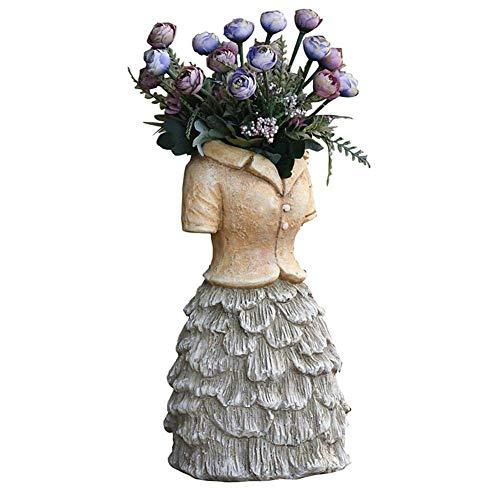 erddcbb Large Dress Fairy Garden Decor Pot Planter Garden Decoration Micro Landscape Statue Succulent Flower Pot Balcony Simple Style,A+High18inch