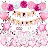 JSTC Geburtstagsdeko Mädchen Deko Kindergeburtstag, Happy Birthday Girlande Geburtstag Dekoration mit Luftballons Rosa/Seidenpapier Pompoms/Ballons/Banner für Tauf Party Freundin Tochter Girl.
