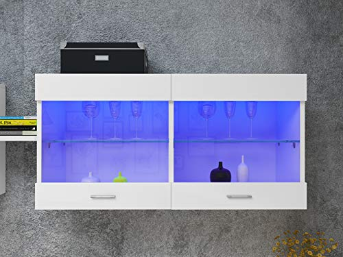 White Wall Mounted Cabinet Glass Shelf Cupboard Storage Kitchen Storage Display Unit Living Room LED