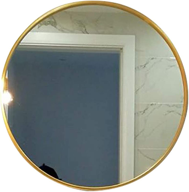 Iron Art Wall Mirror,Household Indoor Bathroom Mirror Bathroom Makeup Mirror Dressing Mirror Living Room Entrance Mirror Round Mirror Decoration Wall Mirror,gold,30CM