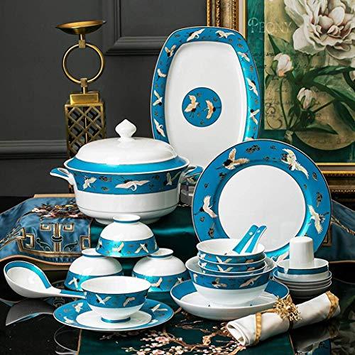 ZJZ Juego de vajilla de cerámica, 50 Piezas de vajilla de Porcelana esmaltada clásica para Regalos de Boda y reuniones Familiares, Juegos de Platos y Cuencos de Porcelana China, Azul