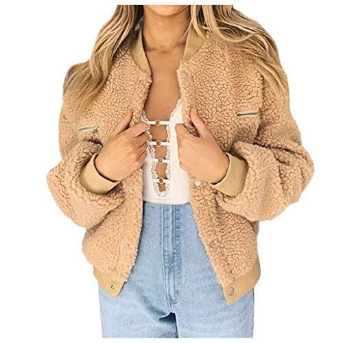 Lialbert Damen Winter Mantel Teddy-Fleece Bomberjacke Herbst Winter Winterjacke Kurz Teddyjacke Plüschjacke Casual Wintermantel Outwear...