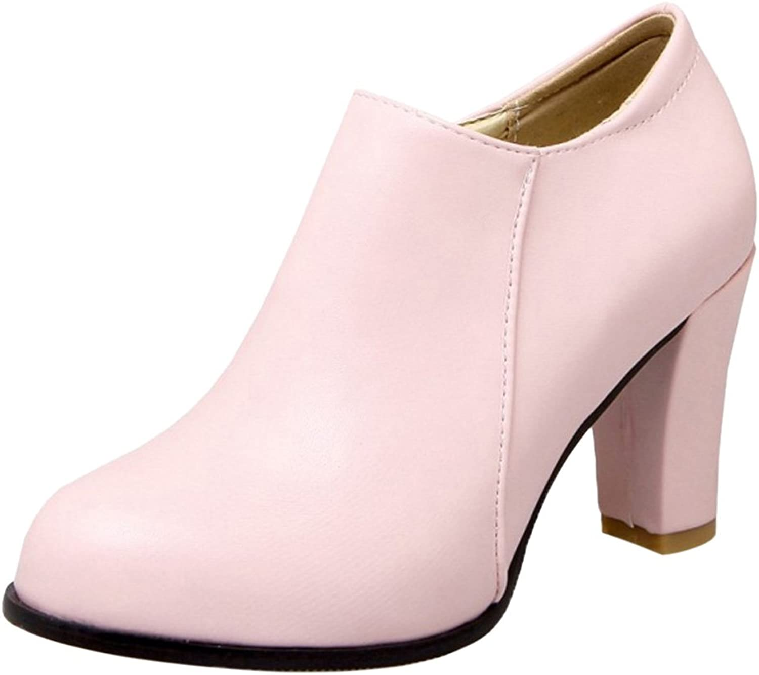 CarziCuzin Women Solid Block Heel Short Boots Round Toe Pink Size 41 Asian