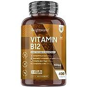 Vitamin B12-400 Tabletten - Methylcobalamin B12 1000µg - Vegan & Vegetarisch - Geprüfte Inhaltsstoffe - Natürlich & Ohne Zusatzstoffe - Nervenfunktion & Zellteilung - B12 Tabletten - WeightWorld