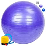 Zonstore Exercise Ball Extra Thick Yoga Ball Chair, Professional Grade Anti-Burst Balance & Stability Ball Supports 2000lbs with Quick Pump