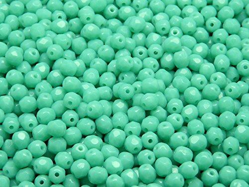 100pcs Tchèque facettes perles de verre, Fire-Polished Beads, ronde 4mm Opaque Turquoise Green