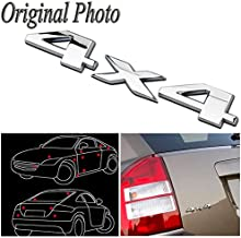 CHAMPLED 2 Silver Chrome 4X4 Auto Car Logo Decal Emblem Sticker for Jeep Dodge Ford Truck for Acura Nissan Mitsubishi Subaru Mazda