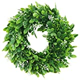 ElaDeco 10' Faux Boxwood Wreath Artificial Green Leaves Wreath for Front Door Wall Hanging Window Wedding Party Decoration