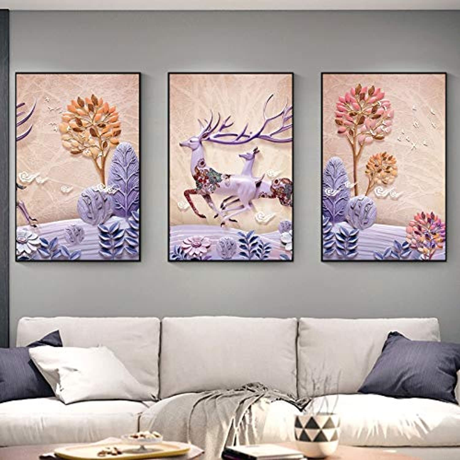 WENJUN Wall Art Picture 3 Pieces Wall Art Image For Living Room Home Decor Abstract Canvas Painting Print Black Frame Art On Canvas,Art Print Images,5 colors,4 Sizes ( color   A , Size   6080 )
