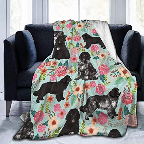 Popcorn In Spring Hunde Neufundländer Landseer Decke Superweich Leichtgewicht Gemütlich Warmer Flauschiger Plüsch für Bett Couch Wohnzimmer