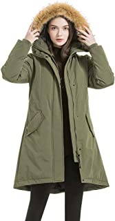 valuker Women's Waterproof Thickened Down Parka Coat with Royal Fur 90% Down Coat