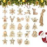 24 Pcs Numéro Calendrier de L'avent en Bois,Chiffres en Bois calendrier de L'avent,Décorations de Noël en Bois,Bois Arbre de Noël Ornements,Étiquettes en Bois Noël pour Faire des Calendriers de Noël