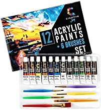 Creative Joy CJAPB01 Acrylic Paint Set & Brushes Vivid Paint Sets Include 6 Brushes-Great for Artists and Hobby Painters f...
