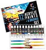 Creative Joy CJAPB01 Acrylic Paint Set & Brushes Vivid Paint Sets Include 6...
