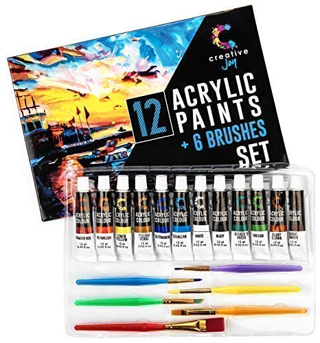 Creative Joy CJAPB01 Acrylic Paint Set & Brushes Vivid Paint Sets Include 6 Brushes-Great for Artists and Hobby Painters from Kids through Adults-Beginner to Expert Acrylic Paint Kits (12 Paints)