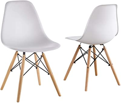 f5560eb4f38 Mid Century Modern Eames Style White armless PP Plastic Chair Set of 2 Side  Chair with