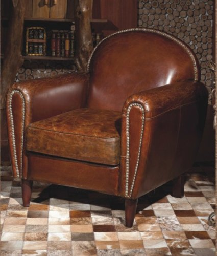 Phoenixarts Echtleder Vintage Sessel Ledersessel Braun Antik Design Lounge Clubsessel Sofa Möbel...