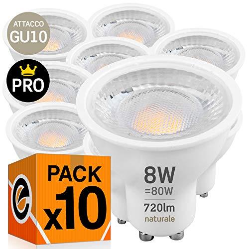 10x Lampadine LED GU10 8W Professionali Garanzia 5 anni Satinata Antiabbaglio (720 lumen equivalenti a 80W) - Forma: Faretto - Luce Bianco Naturale 4000K - Fascio Luminoso 110°