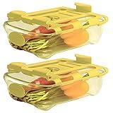 Shopwithgreen 2 contenitori per frigorifero con maniglia, estraibile per cassetto del frigorifero, scatola portaoggetti per frigorifero (giallo)