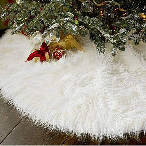 AISENO 48 Inch Christmas Tree Plush Skirt Decoration for Merry Christmas Party Faux Fur Christmas Tree Skirt Decorations