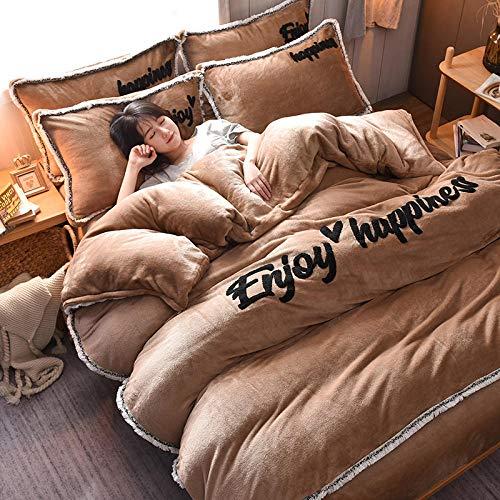 king size flannel sheets,Coral velvet four-piece simple French velvet double-sided plus velvet bed sheet milk velvet bedding-Tassel Mocha_1.5m (5 feet) bed