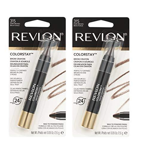 Pack of 2 Revlon Colorstay Brow Crayon, Dark Brown (315)