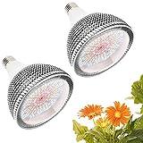 Iluminación para plantas 150W E27 Bombilla LED de Cultivo 200 LEDs, E27 Lampara de Cultivo Espectro Completo Lámpara LED Crecimiento para Jardín, Invernadero, hidropónico(2-Paquete)