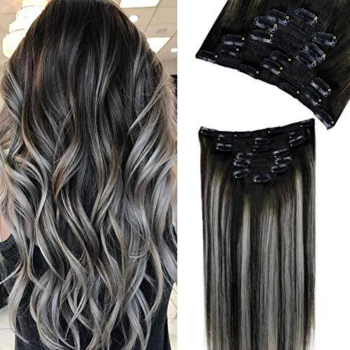 """LaaVoo 16""""/40cm Nero Naturale #1B Balayage Ombre Silver Extension Capelli Umani Clip 120 Gr/7 Pizzo 100% Real Human Hair Clip in Extensions"""