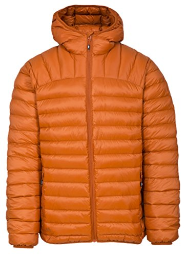Trespass Romano, Burnt Orange, L, Zusammenrollbare Ultraleichte Warme Daunenjacke mit Kapuze, 90% Daunen für Herren, Large, Orange