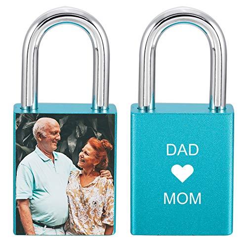 MeMeDIY Personalisierte Schlossgravur Foto/Text/Datum/Symbole für Männer Frauen Paare Liebe Aluminium Memorial Anniversary Bridge Vorhängeschloss mit Schlüssel (blaue Farbe)