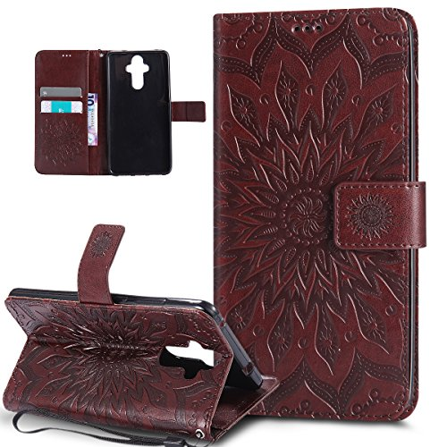 ikasus Coque Huawei Mate 9 Etui Embosser Gaufrage fleur soleil Housse Cuir PU Housse Etui Coque Portefeuille Protection supporter Flip Case Etui Housse Coque pour Huawei Mate 9,marron