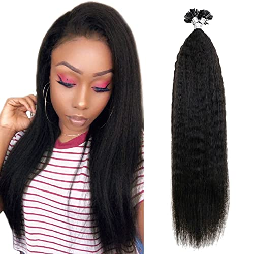Runature Kinky Straight U Tip Hair Extensions 16 Inches Color 1B Off Black 40g 0.8g per Strand 50 Strands Keratin Fusion Bonding U Tip Hair Extensions