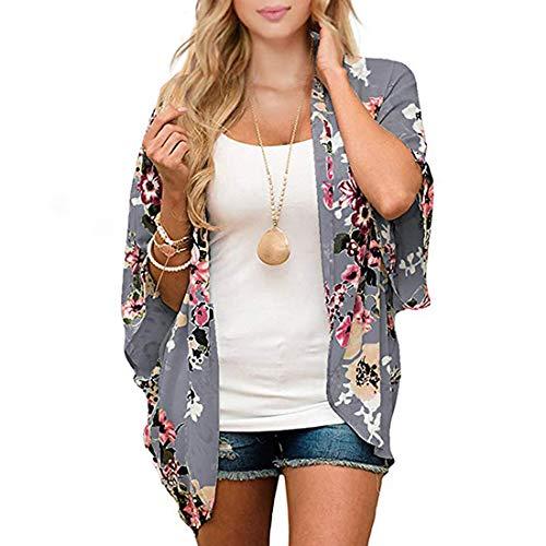 Durio - Kimono para mujer, blusa corta de verano para playa, ligera con flores Colores ahumados. L