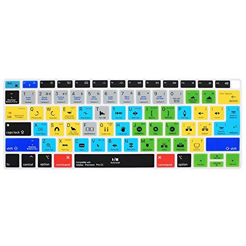 Funda de silicona para teclado Adobe Premiere Pro CC Hotkey para MacBook Air de 13 pulgadas, versión 2018 A1932 con pantalla Retina