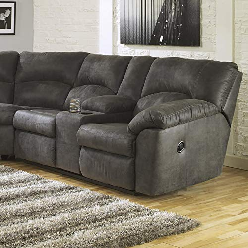 Signature Design by Ashley - Tambo Contemporary Faux Leather Reclining Loveseat - Right Arm Facing, Gray -  Ashley Furniture, 2780149