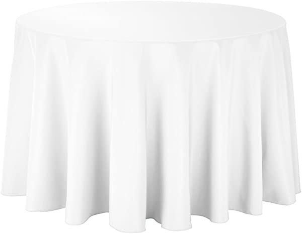Gee Di Moda Tablecloth 108 Inch Round Tablecloths For Circular Table Cover In White Washable Polyester Great For Buffet Table Parties Holiday Dinner More