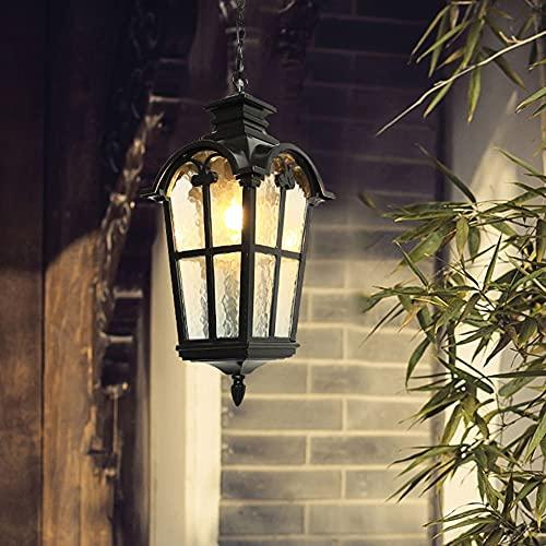 Lámpara colgante de exterior rústica en antigüedad, con cadenas de metal luces de techo de suspensión,E27 230V lámpara de techo iluminación de patio jardín porche corredor villa Gazebo luz 16 * 34 Cm