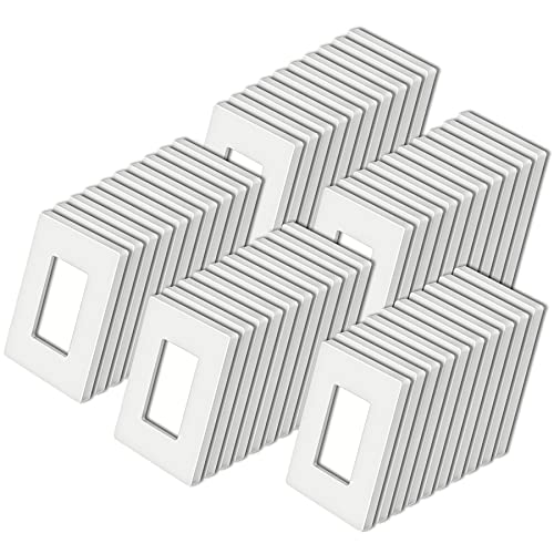 """[50 Pack] BESTTEN 1-Gang Screwless Wall Plate, USWP4 White Series, Decorator Outlet Cover, H4.69"""" x W2.91"""", for Light Switch, Dimmer, USB, GFCI, Receptacle"""