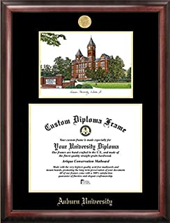 Campus Images AL992LGED Auburn University Embossed Diploma Frame with Lithograph Print, Gold