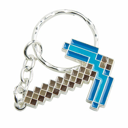 JINX Minecraft Diamond Pickaxe Metal Key Chain (Metallic with Enamel Fill, One Size) Photo #3