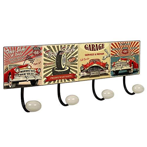 POIGNÉELINE Portemanteau Mur Vintage 4 patère en Porcelaine Garage Retro 400x155MM