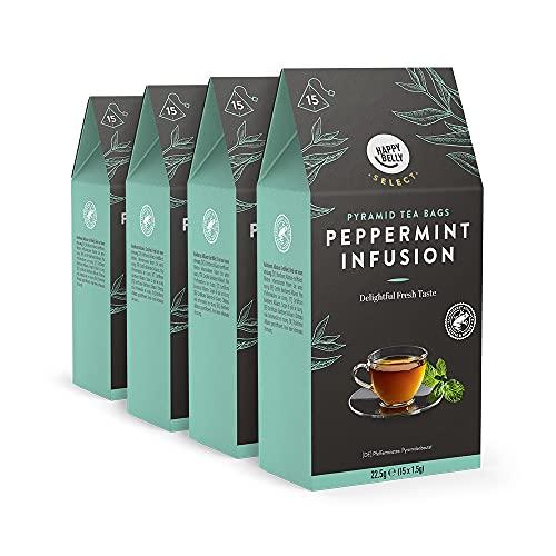 Marca Amazon - Happy Belly Select Bolsitas de té de hierbas selecto, con menta, 4x15 pirámides