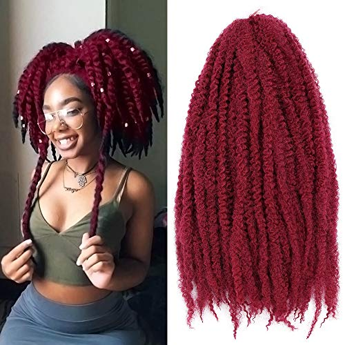 18 Inch Marley Braiding Hair Synthetic Afro Kinky Marley Hair for Twists 3 Packs Marley Twist Braiding Hair Extensions Soft And Fluffy (#BUG)