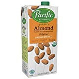 Pacific Foods Almond Milk, Unsweetened Original,32 oz (12-pack), Shelf Stable, Plant-Based, Vegan, Non GMO