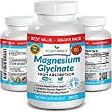 ✅ 3+ MONTH SUPPLY [200 TABLETS] MAGNESIUM GLYCINATE 400 MG – Maximum Strength Magnesium Glycinate 400mg supplements expertly formulated to provide premium support for sleep, leg cramps, heart health, muscle aches + more. Specifically designed to deli...