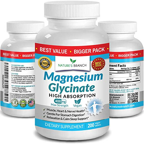 Magnesium Glycinate 400 mg - 200 Tablets - High Absorption, Non Buffered Bisglycinate Mag Supplement for Sleep, Leg Cramps, Heart, Ease Muscles, Calm Headaches for Women and Men, Non Powder Capsules