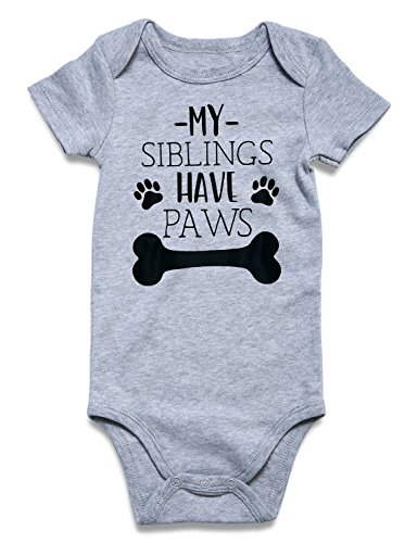 Baby Girls Onesie Independence Day Jumpsuit Newborn Bodysuit of My Siblings Have Paws Printed Short Sleeve Romper Outfit Jumpsuit Gray 3-6 Months
