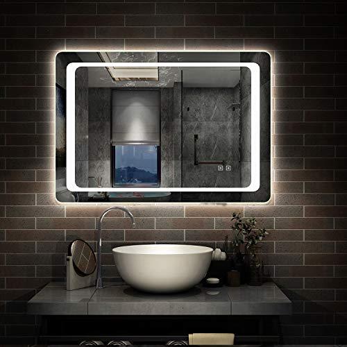 Aicait 80x60cm Specchio da Bagno con Luce LED illuminata, con Interruttore Touch, Specchio da Parete Rettangolare con antiappannamento, Montaggio Orizzontale