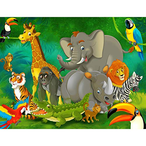 Fototapete Kinderzimmer Zoo Vlies Wand Tapete Dekoration Wandbilder XXL Moderne Wanddeko - 100% MADE IN GERMANY - Elefant Löwe Affe Runa Tapeten 9041010a